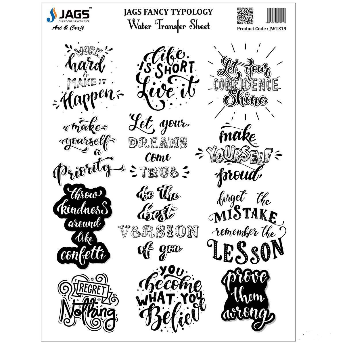 Jags Water Transfer Sheet Fancy Typology JWTS19