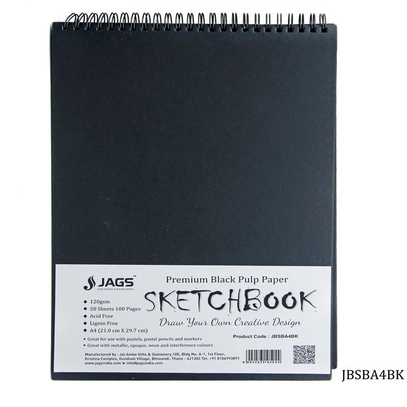 Jags Black Sketch Book A4 100Pgs 120Gsm JBSBA4BK