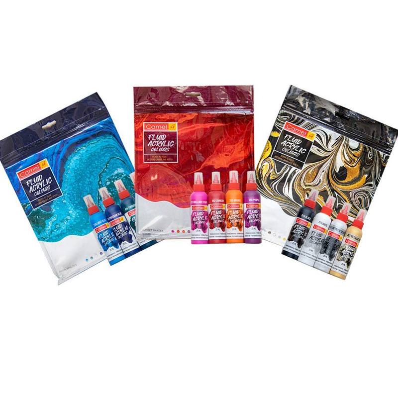 3 Camel Fluid Acrylic Kit Paint - Sunset, Aqua & Monochrome Shades Series- Pack of 3