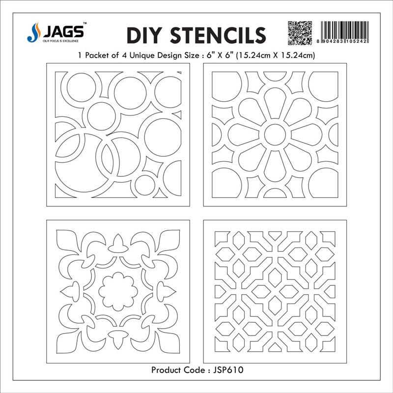 jags Stencil Plastic 6x6 4Pcs Set JSP610