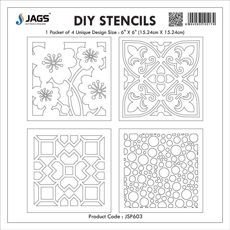 jags Stencil Plastic 6x6 4Pcs Set JSP603
