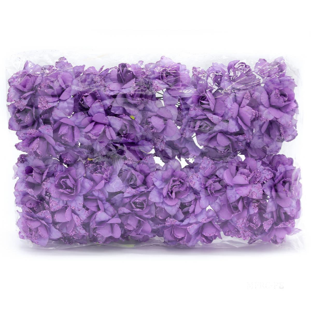 Cloth Flowres Rose 96Pcs Purple MFRC-PE