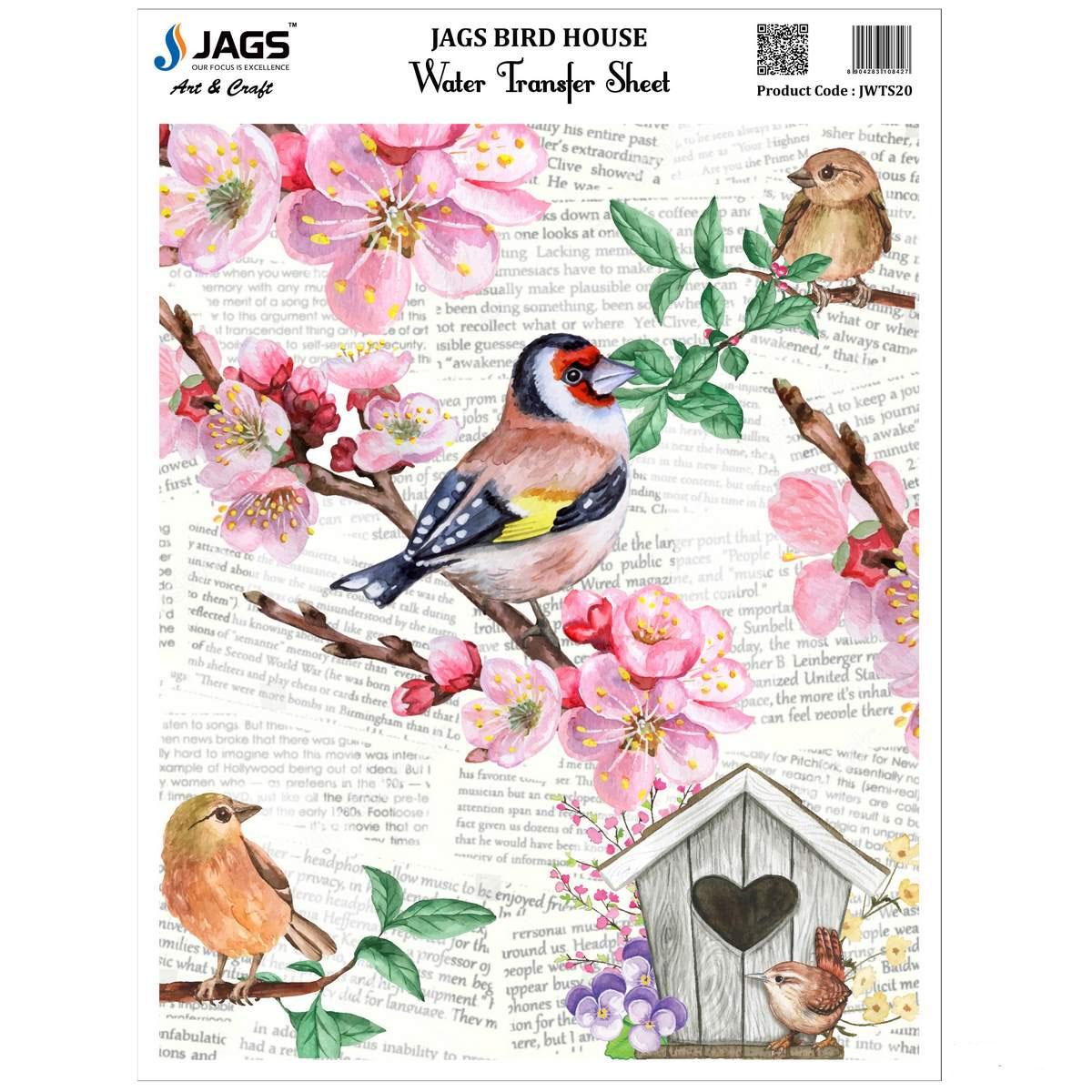 Jags Water Transfer Sheet Bird House JWTS20