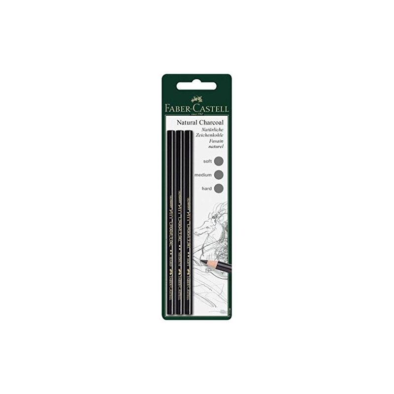 Faber-Castell Charcoal Pencil Pitt Wax-free (Black) set 3