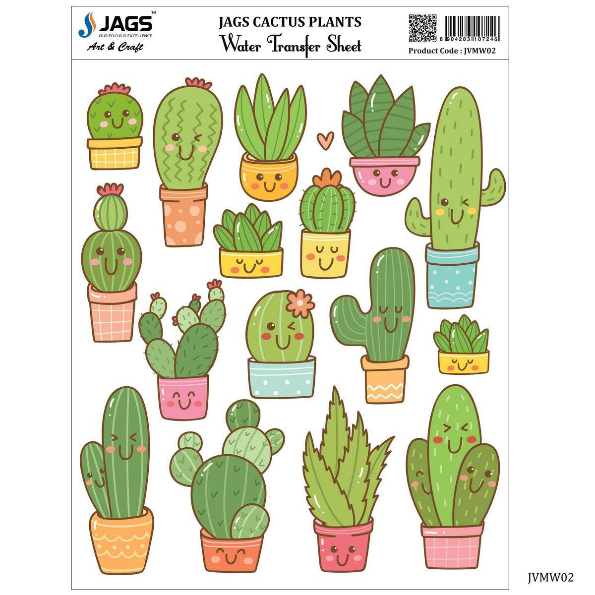 JAGS Water Transfer Sheet Cactus Plants JVMW02