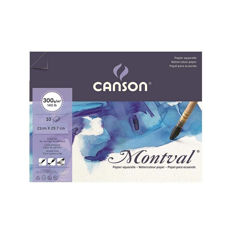 Canson Montval Watercolor Paper 300 GSM 21 cm x 29.7 cm (Size A4) 10 Sheet Packet