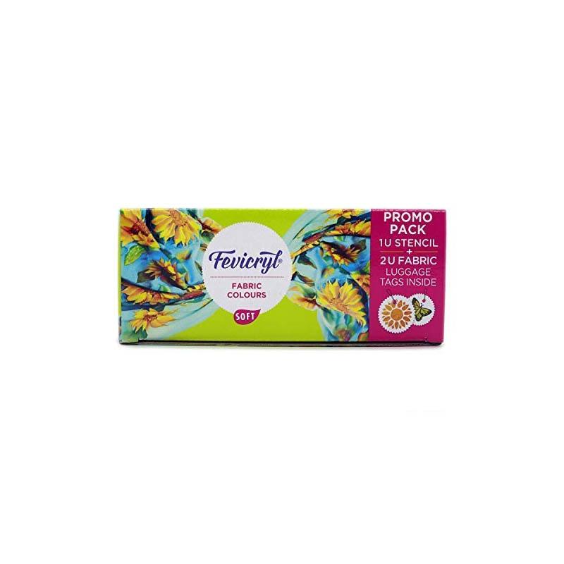 Fevicryl Fabric Colour Kit- 20ml for Fabric Painting (10 X 20ml) - Free Creative Stencil(1U) and Luggage tag(2U)