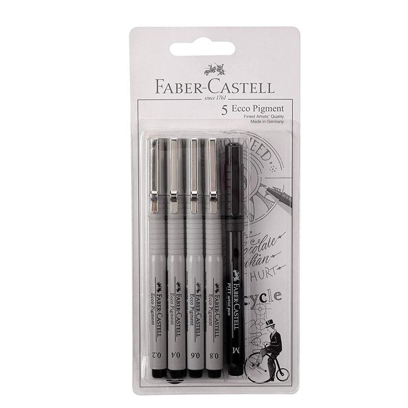 Ecco Pigment Fibre Tip Pen (0.2/0.4/0.6/0.8) + 1 Pitt Pen Set B
