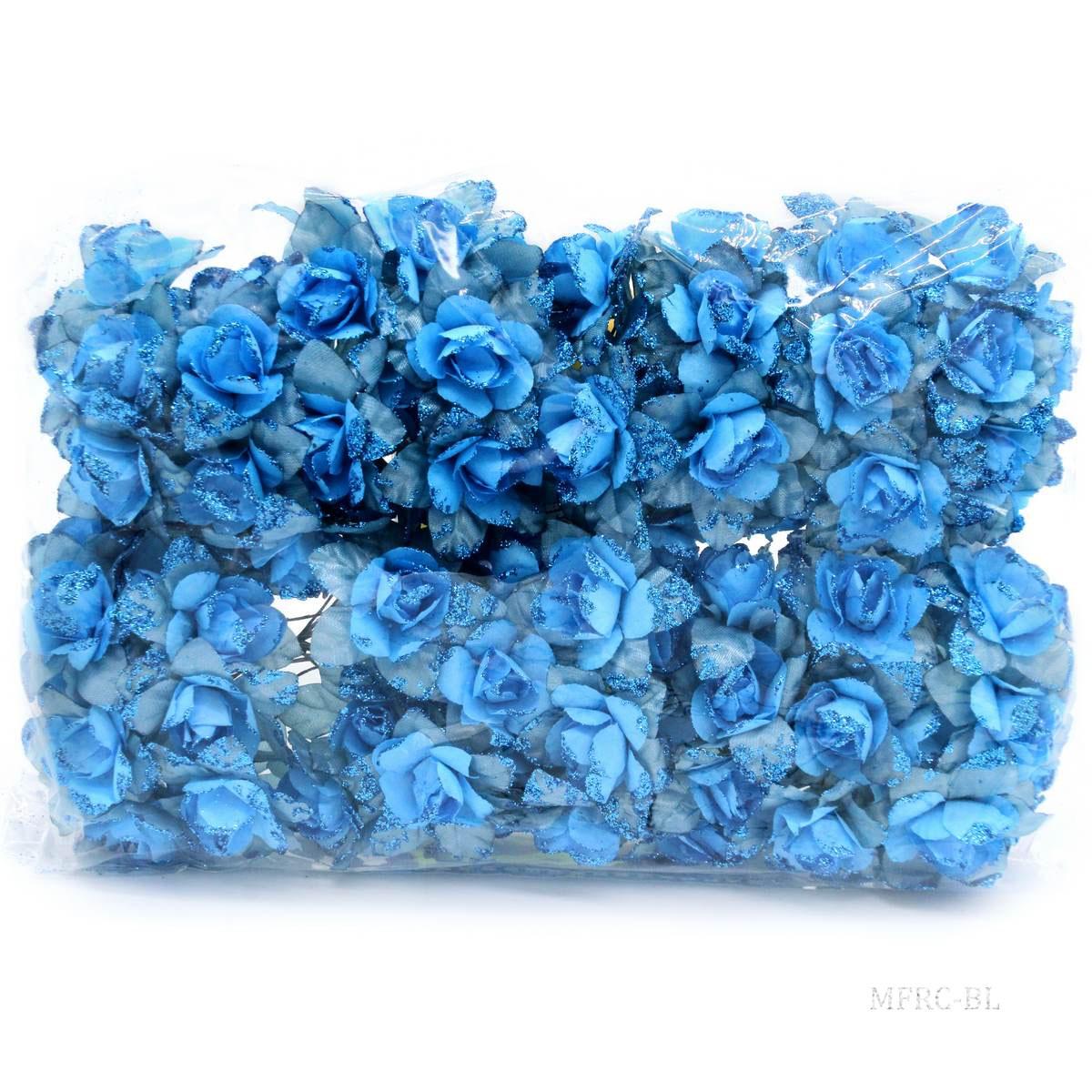 Cloth Flowres Rose 96Pcs Blue MFRC-BL
