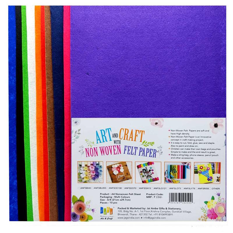 A4 Nonwoven Felt Sheet 10pcs Multi Color A4FELT-MC