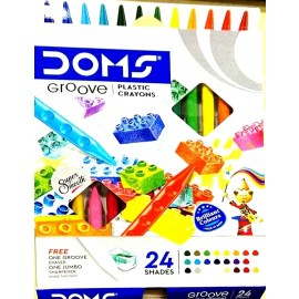 Doms Groove Plastic Crayons (Set of 24 Shades)