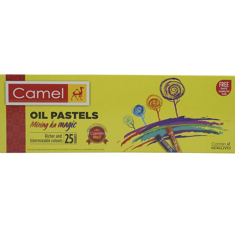 Camel Oil Pastel + Free 1 Drawing Pencil - 25 Shades
