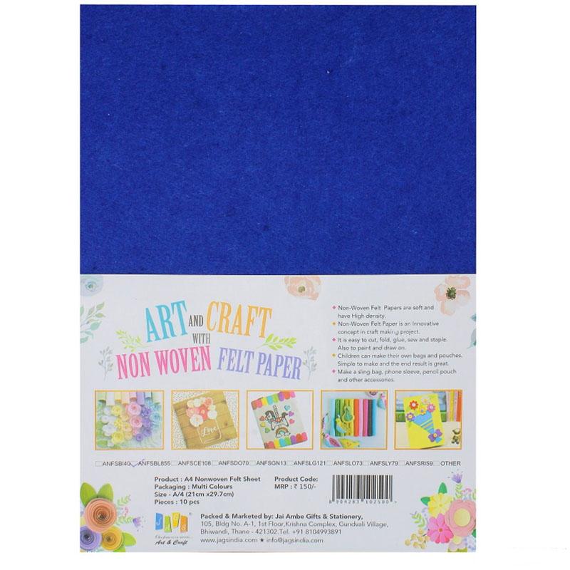 A4 Nonwoven Felt Sheet Blue ANFSBL855