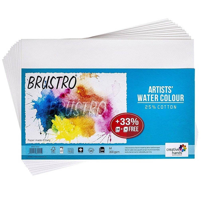 Brustro Artists' Watercolour Paper 300 GSM A4-25% Cotton, Cold Pressed, Contains 18 + 6 Sheets Free