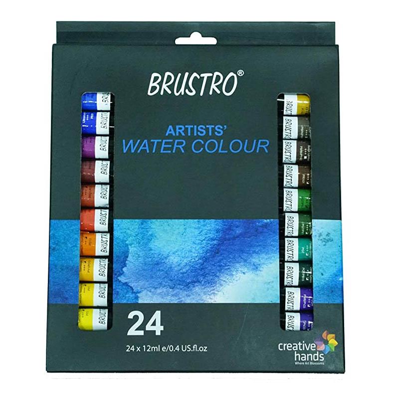 BRUSTRO Artists' Watercolour Set of 24 Colours X 12ML
