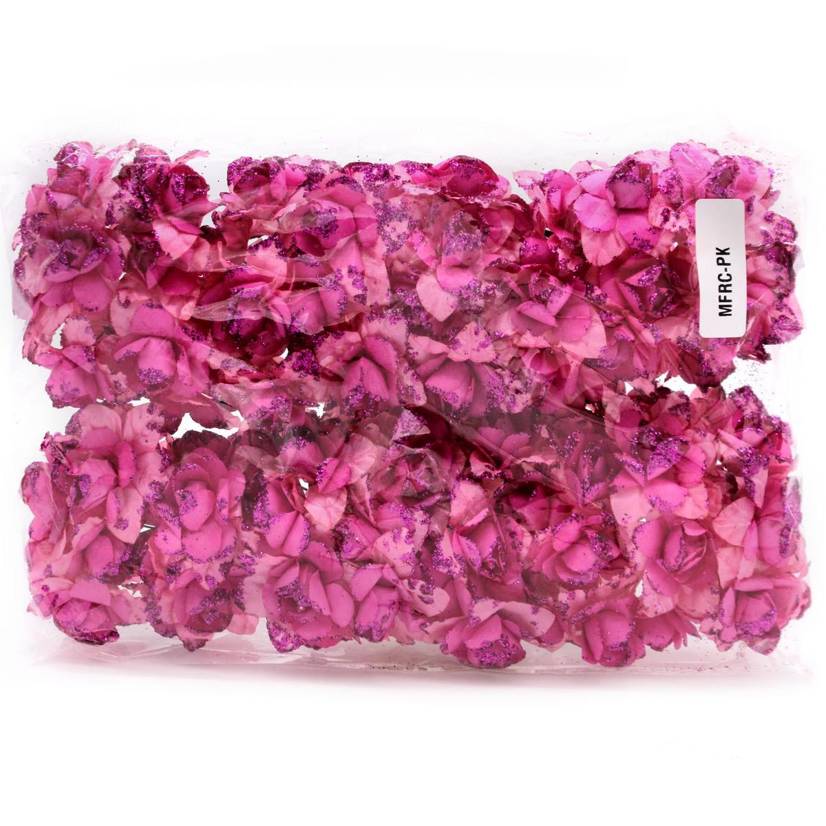 Cloth Flowres Rose 96Pcs Pink MFRC-PK