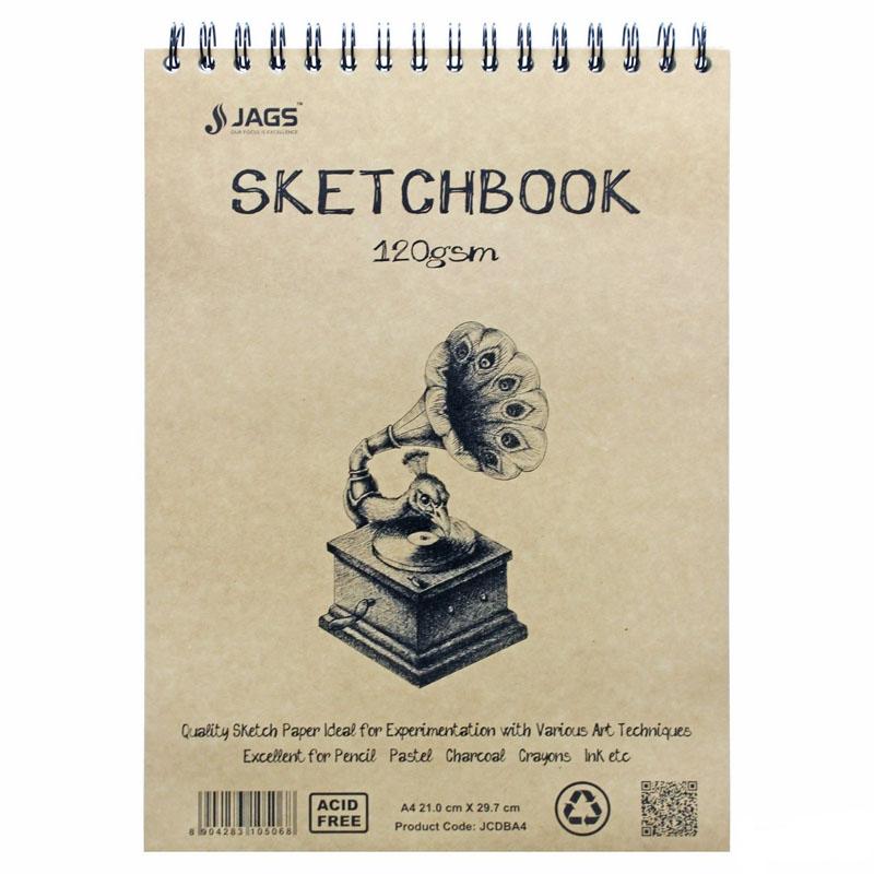 Jags Craft Sketch Book A4 100Pgs 120Gsm JCDBA4