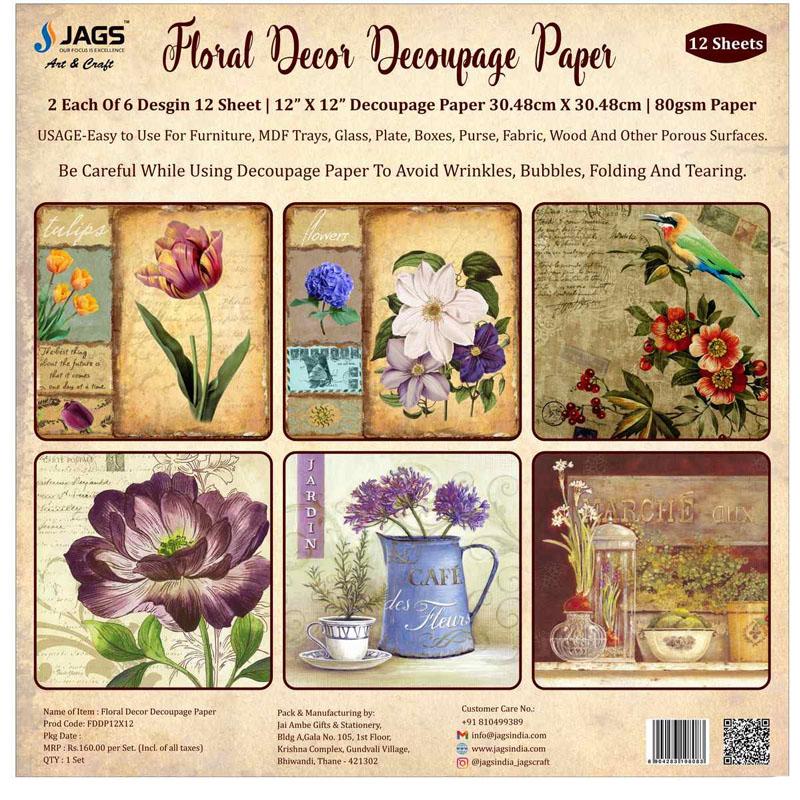 Floral Decor Decoupage Paper 12X12 FDDP12X12