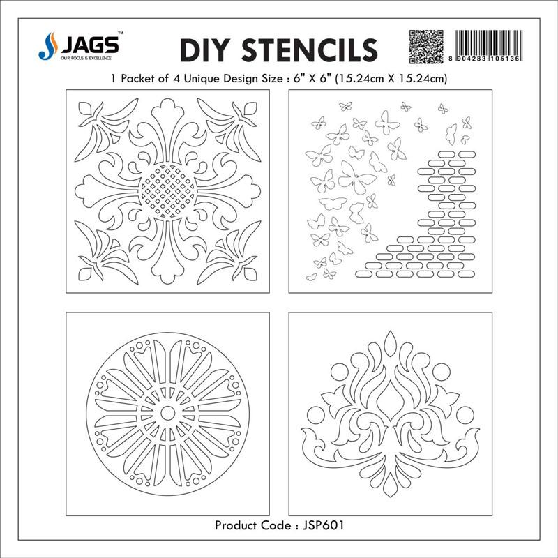 jags Stencil Plastic 6x6 4Pcs Set JSP601