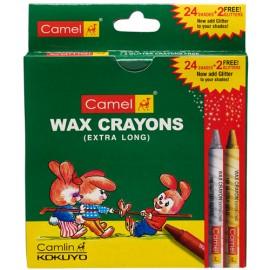 Camlin Kokuyo Colors Wax Crayons 1000xl-24 + 2 Glitter Crayons Free