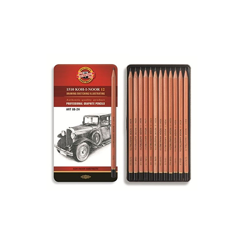 Art Set of 12 Technical Graphite pencils in tin box - 8B to 2H - Natural Finish