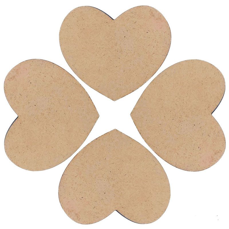 MDF Plate Heart 4X4 4MM 4 Pics MPH401