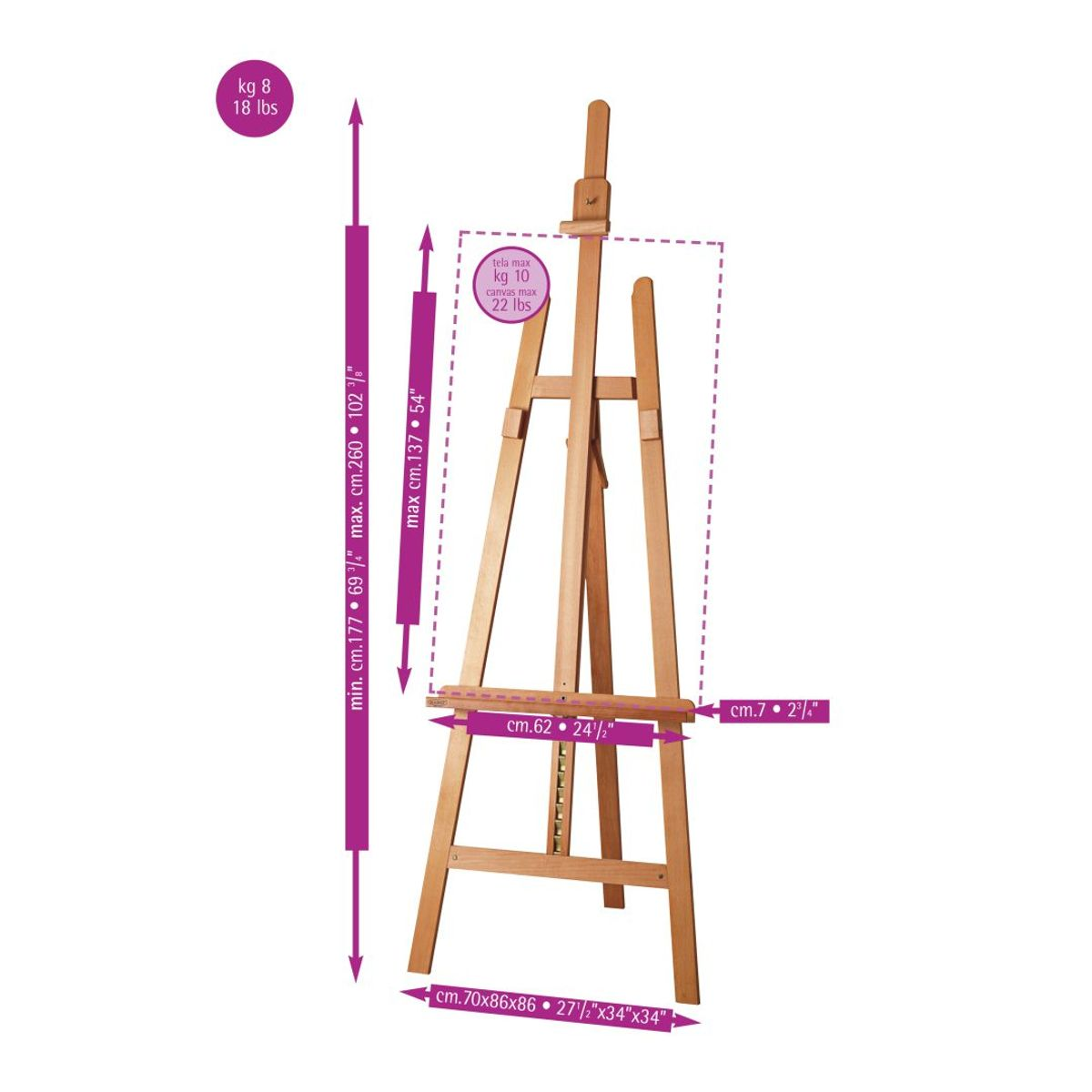 MABEF Beech Wood Big Lyre Easel - A Frame
