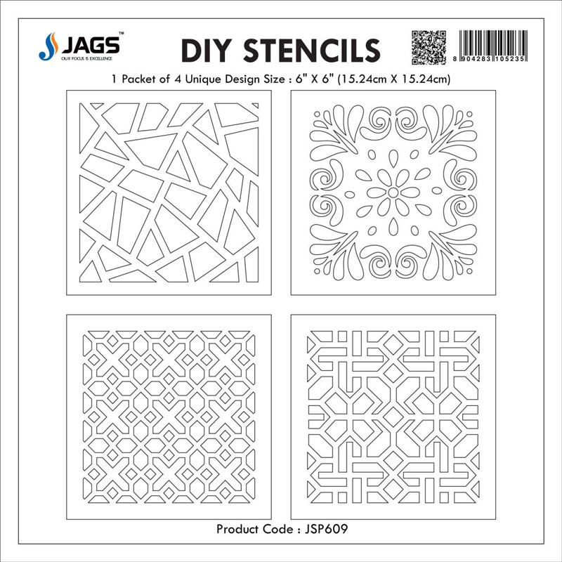 jags Stencil Plastic 6x6 4Pcs Set JSP609