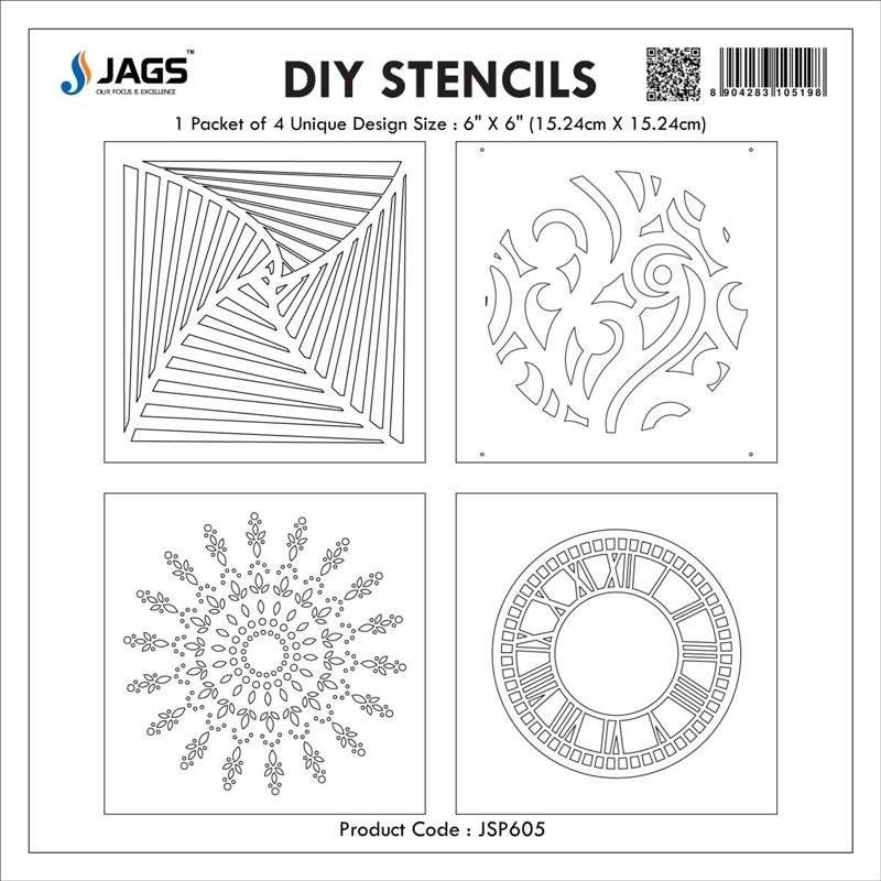 jags Stencil Plastic 6x6 4Pcs Set JSP605